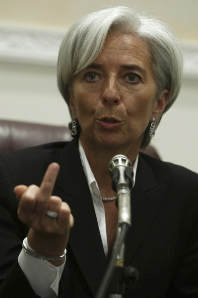 French Economy Minister Christine Lagarde speaks during a news conference in Riyadh