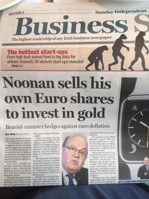 Irish Finance Minister Dumps Stocks - Buys Gold