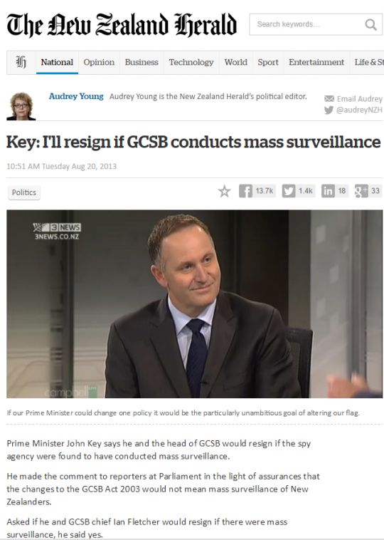 New Zealand Prime Minister Retracts Vow To Resign if Mass Surveillance Is Shown