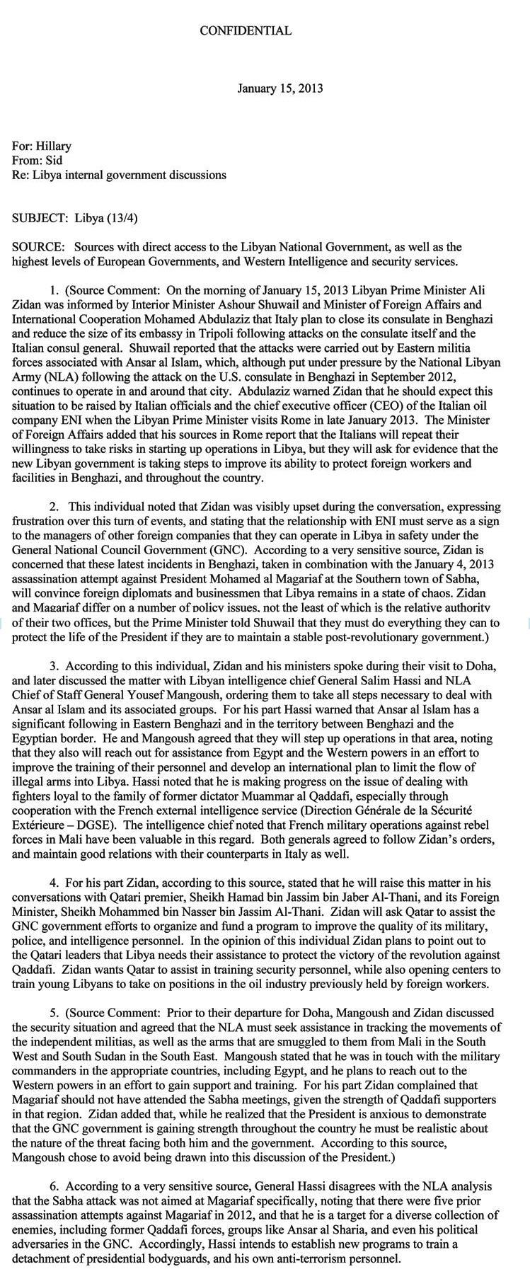 clinton libya memo