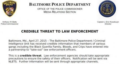 Baltimore-Police-Department-Credible-Threat