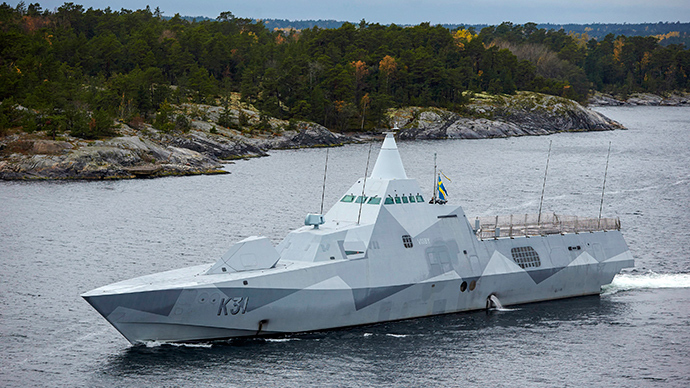 Swedish corvette HMS Visby patrols the Stockholm Archipelago October 19 2014, searching for what the military says is a foreign threat in the waters