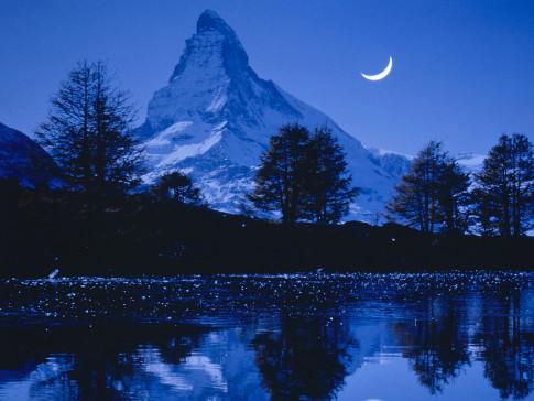 Matterhorn, Switzerland, at night