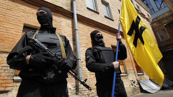 Ukraine - Fighters of Social Nationalist Assembly (SNA), part of ultra-nationalist Right Sector movement