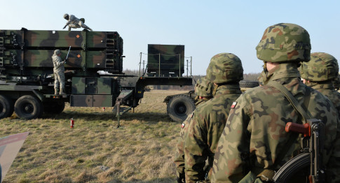 Patriot air and missile defence system at a test range in Sochaczew, Poland, on March 21, 2015