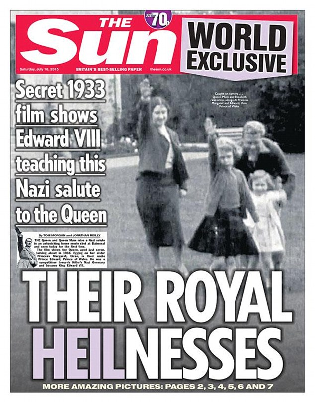 Queen performing a Nazi salute as a young girl