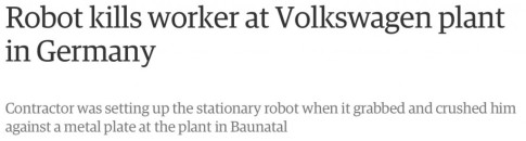 Robot kills a man at Volkswagen plant