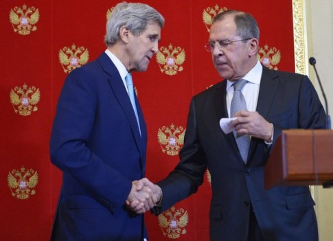 Masonic handshake between Kerry and Lavrov
