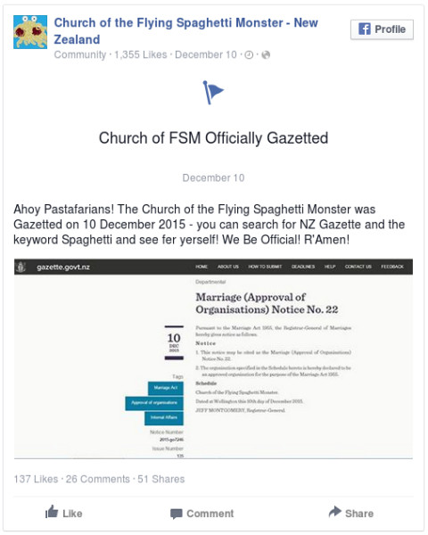 The Church of the Flying Spaghetti Monster has been allowed to officiate weddings for its kiwi followers