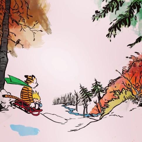 Calvin and Hobbes - sledding