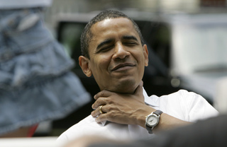 Democratic presidential hopeful U.S. Sen. Barack Obama, D-Ill., pretends to choke after drinking lemonade he bought from a stand before speaking at a potluck picnic, Saturday, June 16, 2007, in Webster City, Iowa. (AP Photo/Charlie Neibergall)