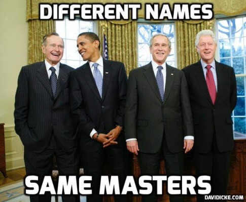 Bush Obama Clinton different names same masters