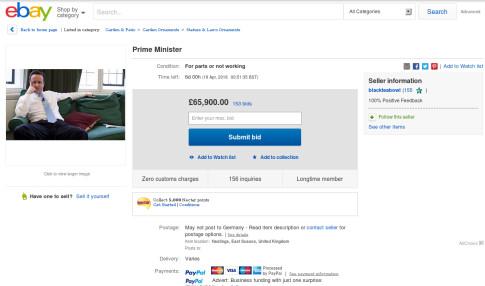David Cameron ebay