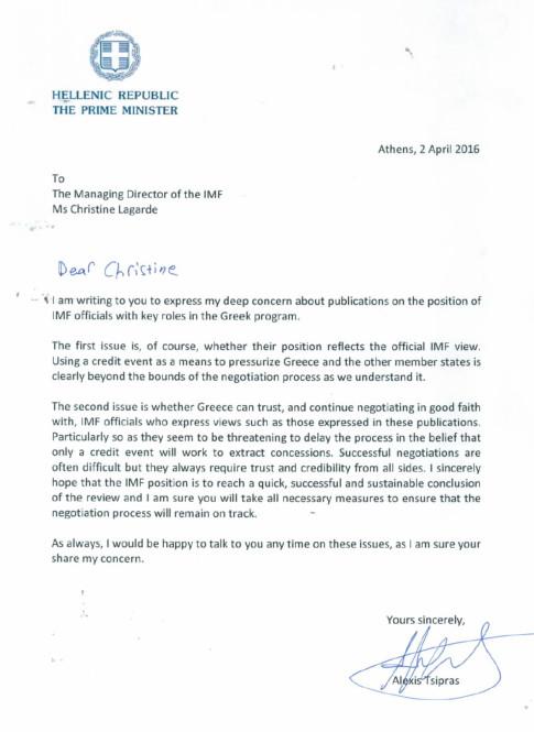 Tsipras Lagarde letter