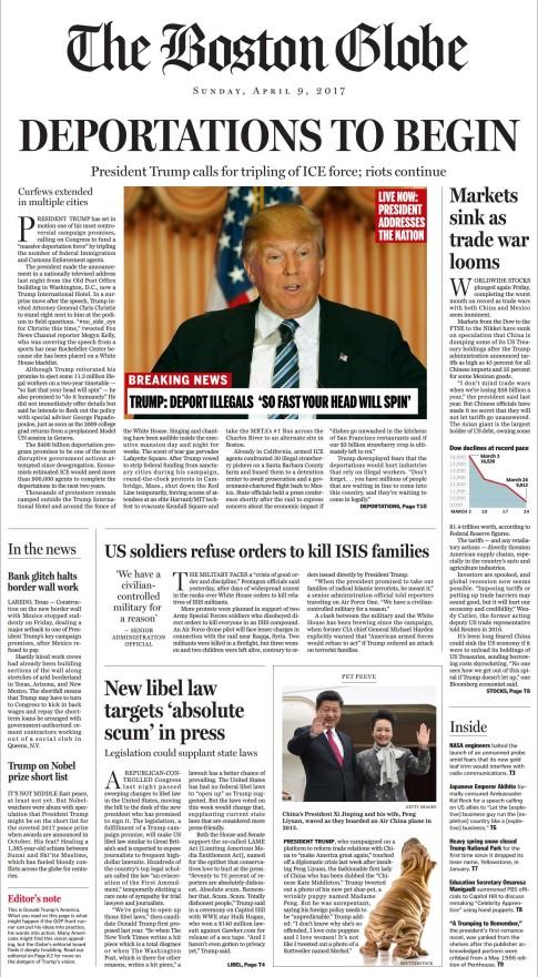 boston globe trump front page