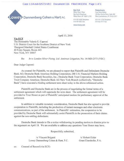 silver settlement letter