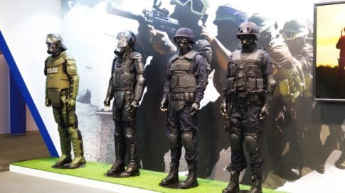 Riot gear on sale at the 2015 Milipol security expo in Paris