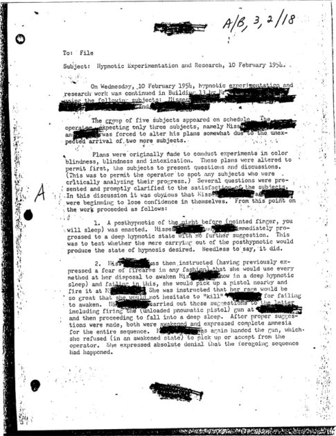 Programmed Assassins Used in Mind Control - Image of Original Declassified CIA Document