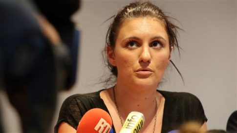 French policewoman Sandra Bertin gives a press conference on July 24, 2015, in Nice, southeastern France