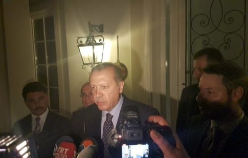 REFILE - CORRECTING HEADLINE - Turkish President Tayyip Erdogan speaks to media in the resort town of Marmaris, Turkey, July 15, 2016.    REUTERS/Kenan Gurbuz
