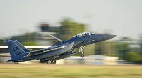 A U.S. Air Force F-15E Strike Eagle