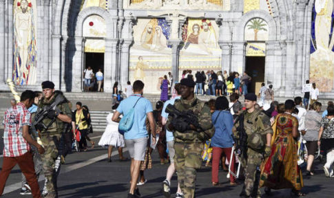 Security was increased at the holy Christian shrine Lourdes, France